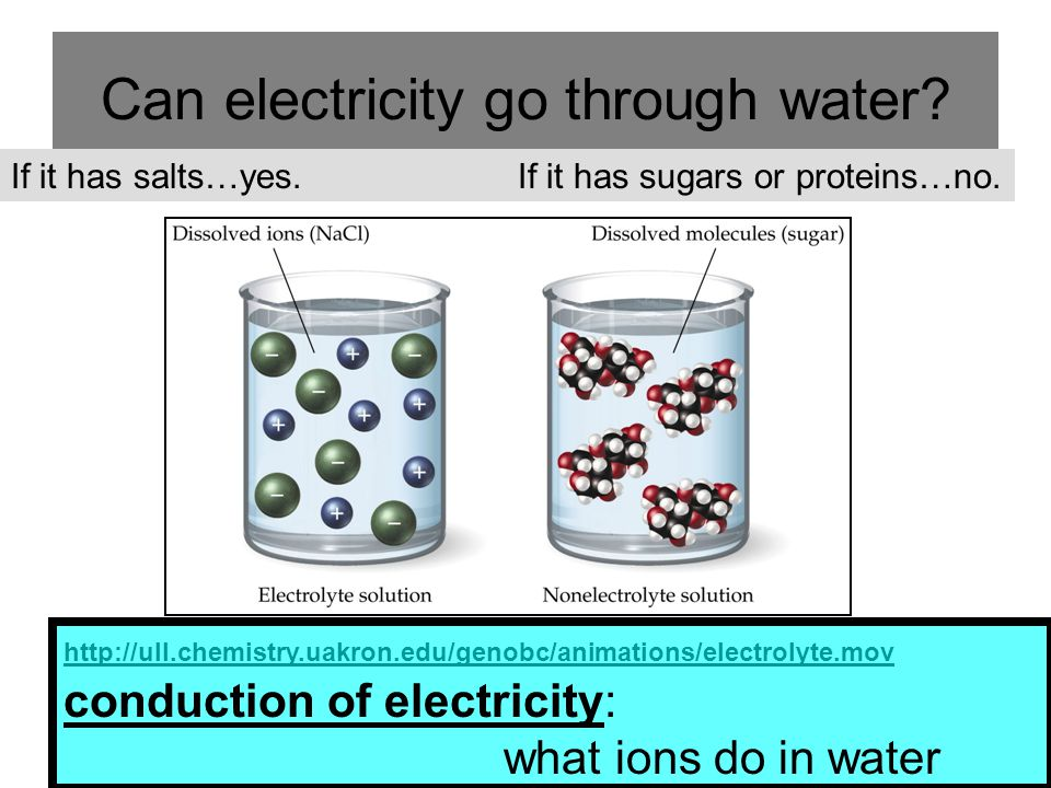 Can electricity go through water? If it has salts…yes. If it has sugars or proteins…no. http://ull.chemistry.uakron.edu/genobc/animations/electrolyte.