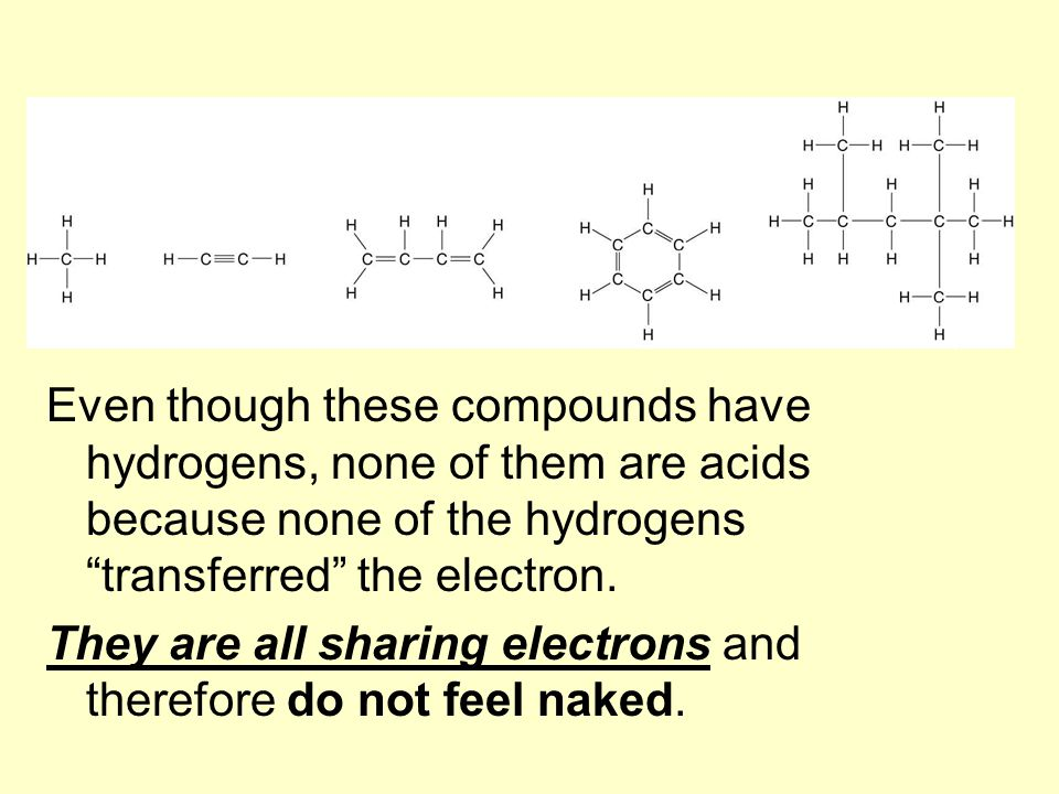 """Even though these compounds have hydrogens, none of them are acids because none of the hydrogens """"transferred"""" the electron. They are all sharing elec"""