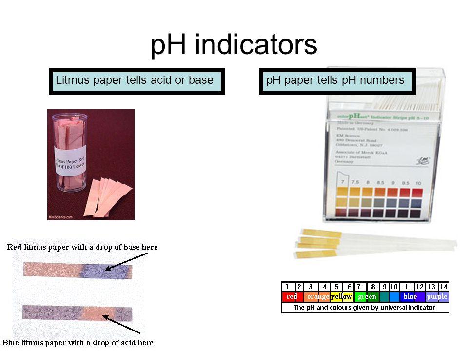 pH indicators pH paper tells pH numbersLitmus paper tells acid or base