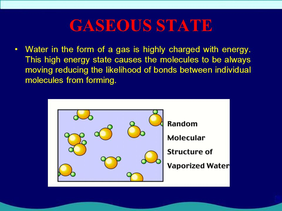 LIQUID STATE In the liquid phase, water molecules arrange themselves into small groups of joined particles. The fact that these arrangements are small