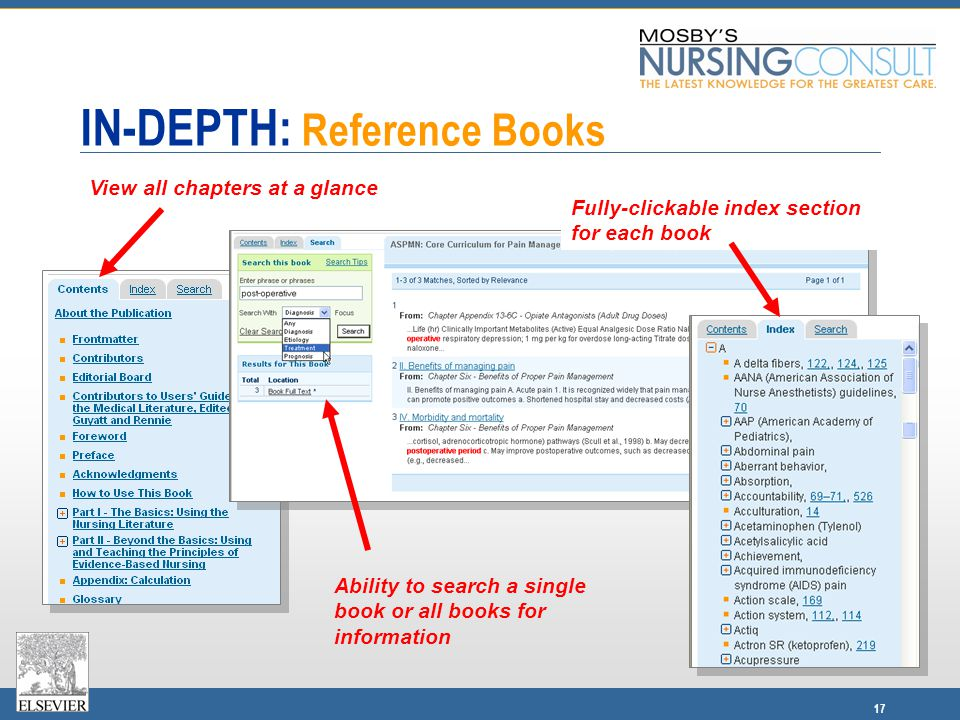 17 IN-DEPTH: Reference Books Ability to search a single book or all books for information View all chapters at a glance Fully-clickable index section for each book
