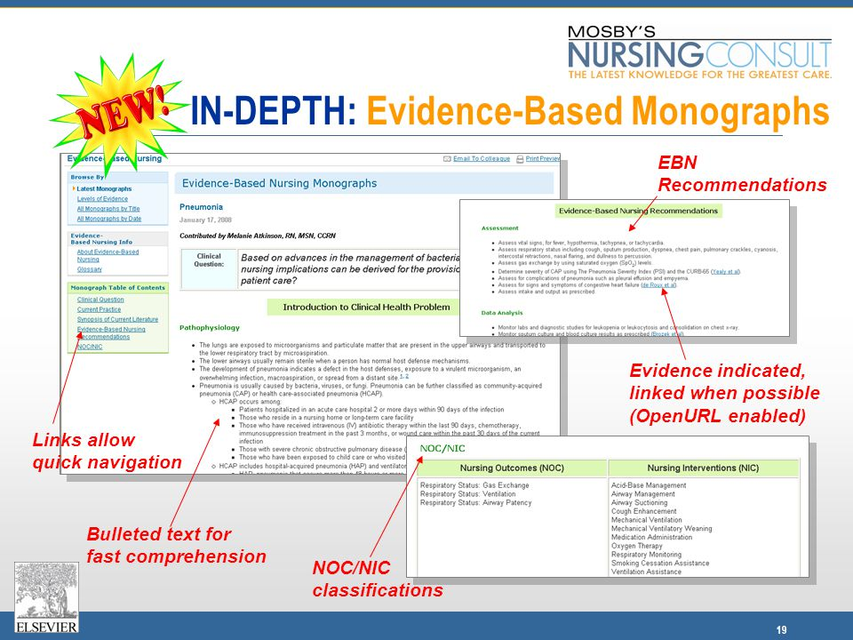 19 Links allow quick navigation Bulleted text for fast comprehension IN-DEPTH: Evidence-Based Monographs Evidence indicated, linked when possible (OpenURL enabled) EBN Recommendations NOC/NIC classifications