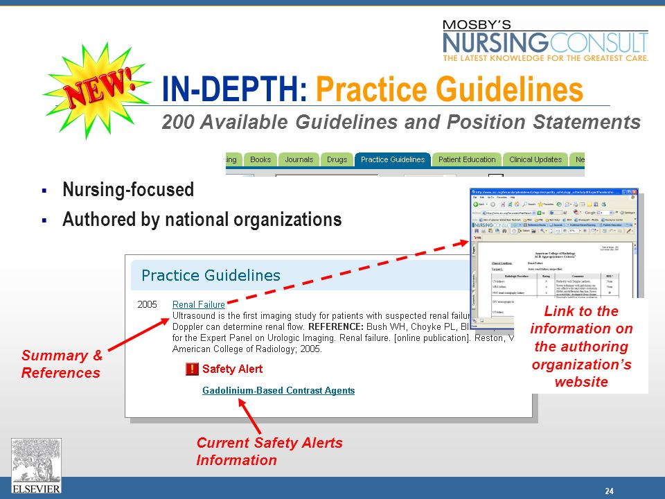 24 IN-DEPTH: Practice Guidelines  Nursing-focused  Authored by national organizations Link to the information on the authoring organization's website Summary & References Current Safety Alerts Information 200 Available Guidelines and Position Statements