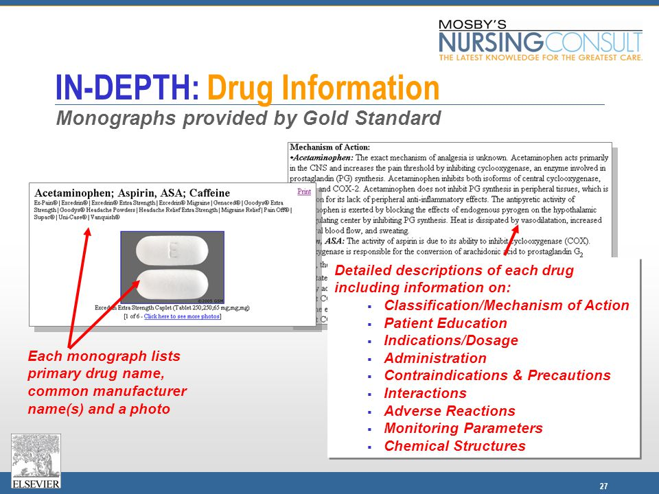 27 IN-DEPTH: Drug Information Each monograph lists primary drug name, common manufacturer name(s) and a photo Detailed descriptions of each drug inclu