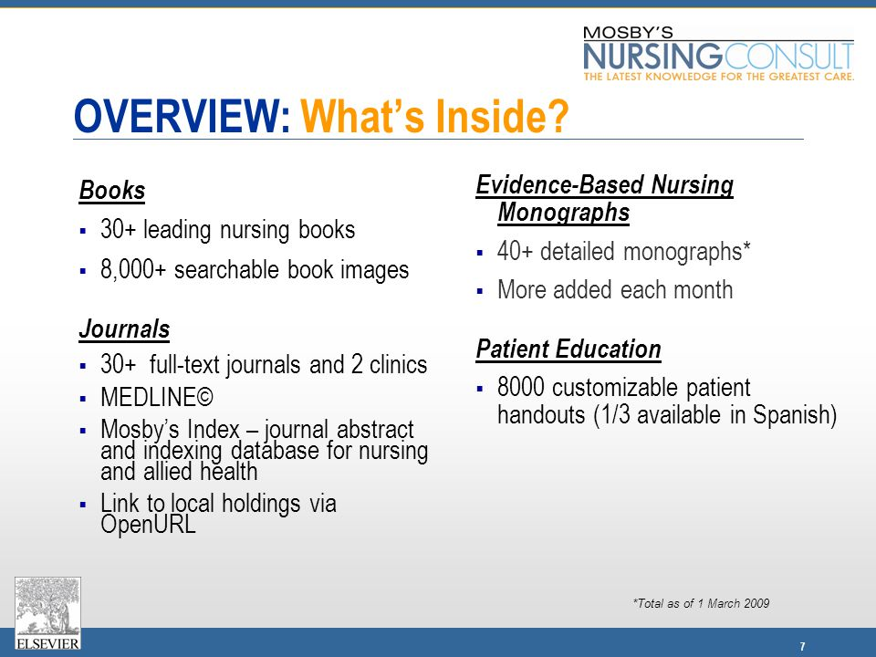 7 OVERVIEW: What's Inside? Books  30+ leading nursing books  8,000+ searchable book images Journals  30+ full-text journals and 2 clinics  MEDLINE