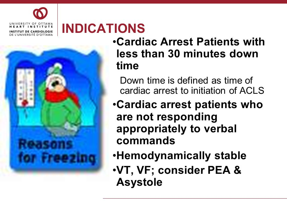 EXCLUSIONS Unwitnessed cardiac arrest with no CPR  15 minutes More than 30 minutes from arrest to ACLS Refractory shock despite treatment with IV fluids and vasopressors Persistent or repeated episodes of cardiac arrhythmias Refractory hypoxia (O 2 sat less than 85% for more than 15 min despite adequate ventilation) Severe coagulopathy with evidence of bleeding