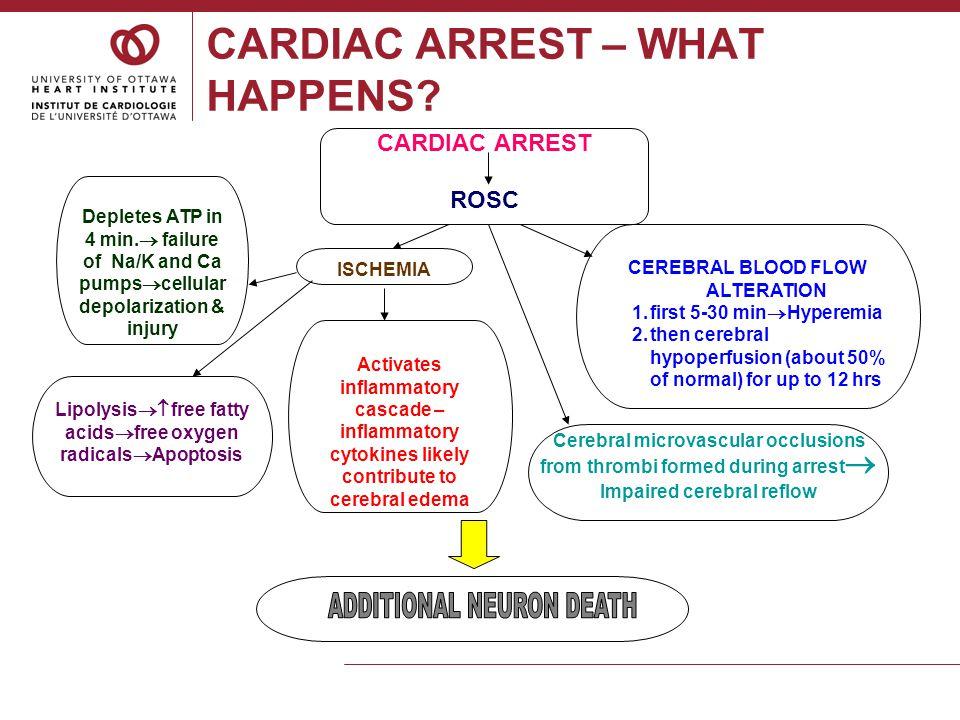 CARDIAC ARREST – WHAT HAPPENS? CARDIAC ARREST ROSC Depletes ATP in 4 min.  failure of Na/K and Ca pumps  cellular depolarization & injury ISCHEMIA L