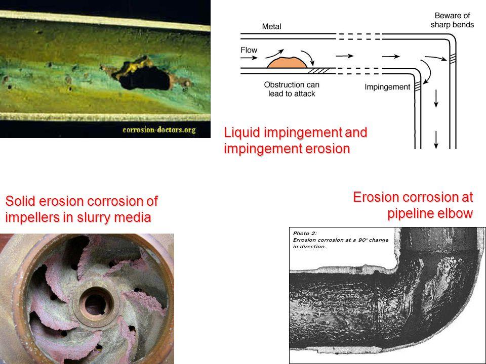 Solid erosion corrosion of impellers in slurry media Liquid impingement and impingement erosion Erosion corrosion at pipeline elbow