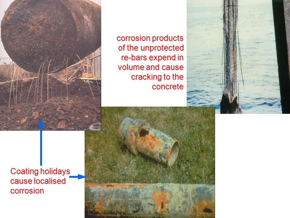 Coating holidays cause localised corrosion corrosion products of the unprotected re-bars expend in volume and cause cracking to the concrete