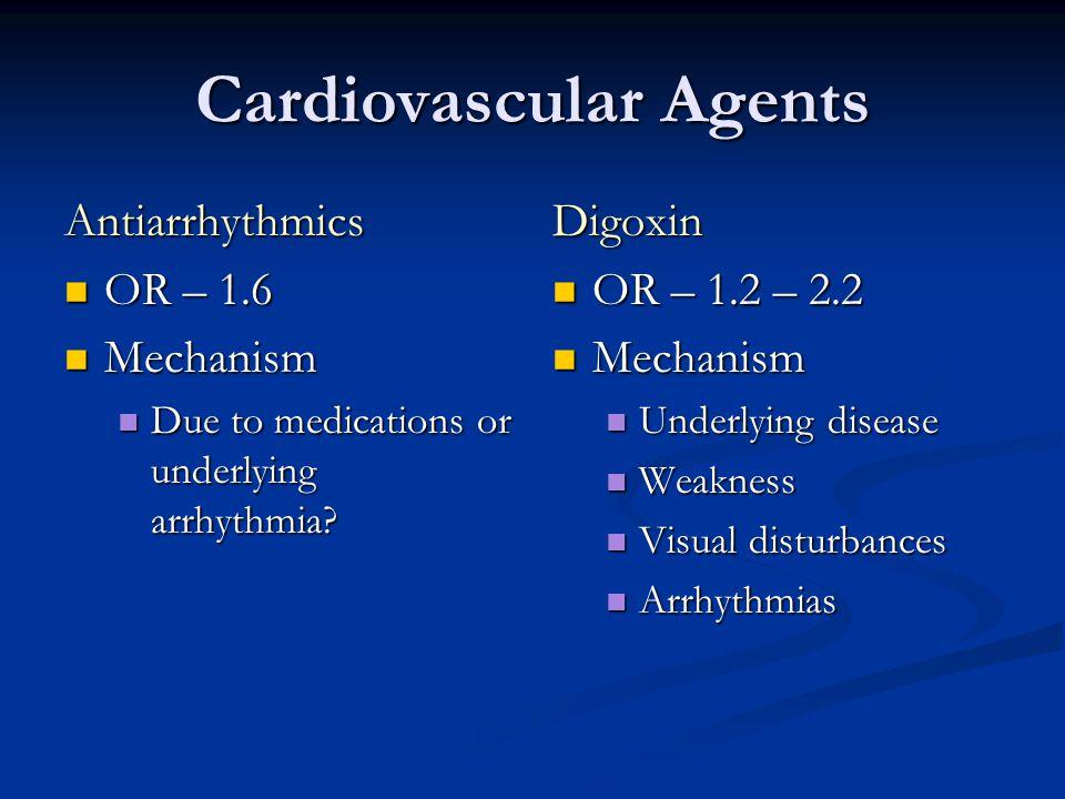 Cardiovascular Agents Antiarrhythmics OR – 1.6 OR – 1.6 Mechanism Mechanism Due to medications or underlying arrhythmia.