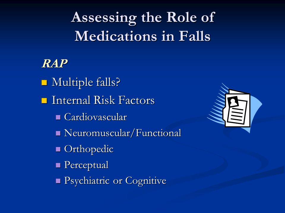 Assessing the Role of Medications in Falls RAP Multiple falls? Multiple falls? Internal Risk Factors Internal Risk Factors Cardiovascular Cardiovascul