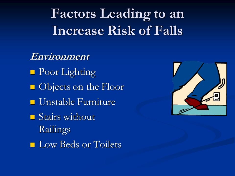 Factors Leading to an Increase Risk of Falls Environment Poor Lighting Poor Lighting Objects on the Floor Objects on the Floor Unstable Furniture Unst