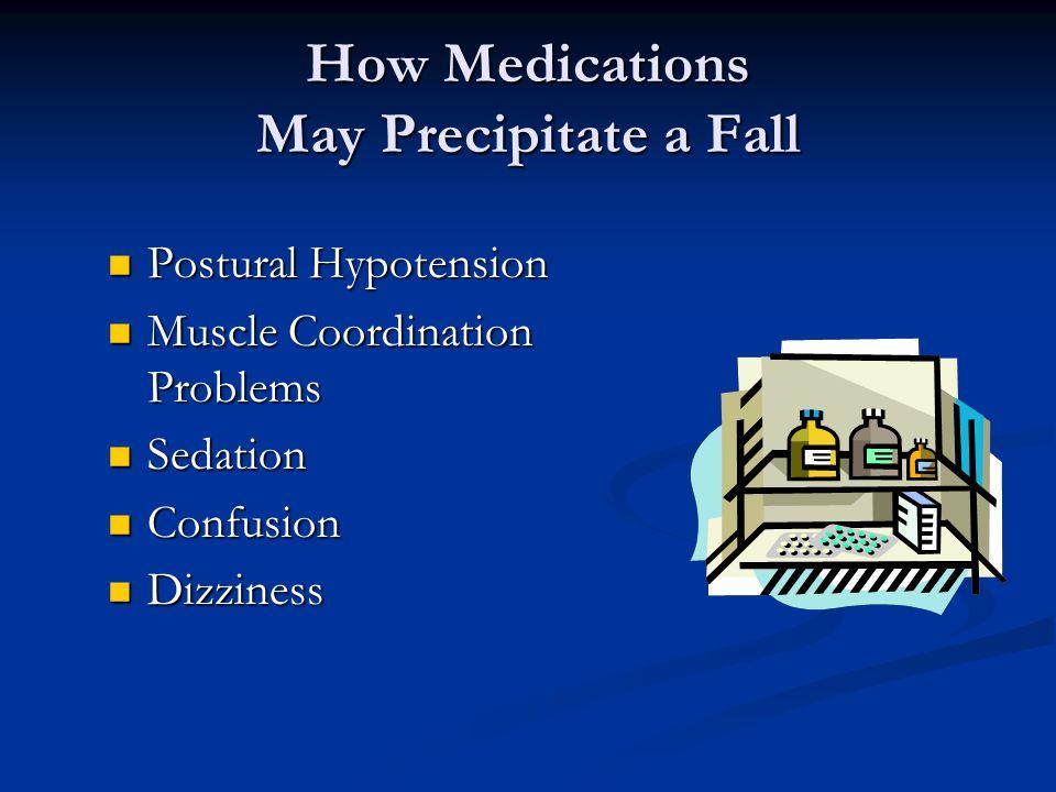 How Medications May Precipitate a Fall Postural Hypotension Postural Hypotension Muscle Coordination Problems Muscle Coordination Problems Sedation Sedation Confusion Confusion Dizziness Dizziness