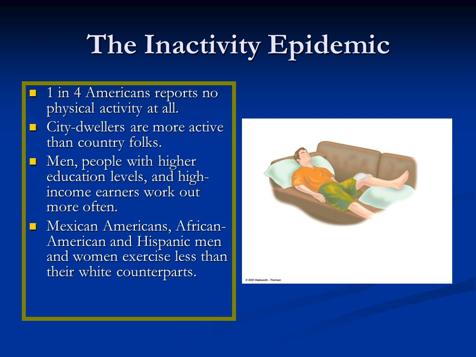 The Inactivity Epidemic 1 in 4 Americans reports no physical activity at all.