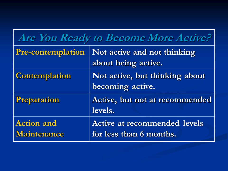 Are You Ready to Become More Active.
