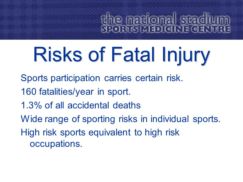 Risks of Fatal Injury Sports participation carries certain risk.
