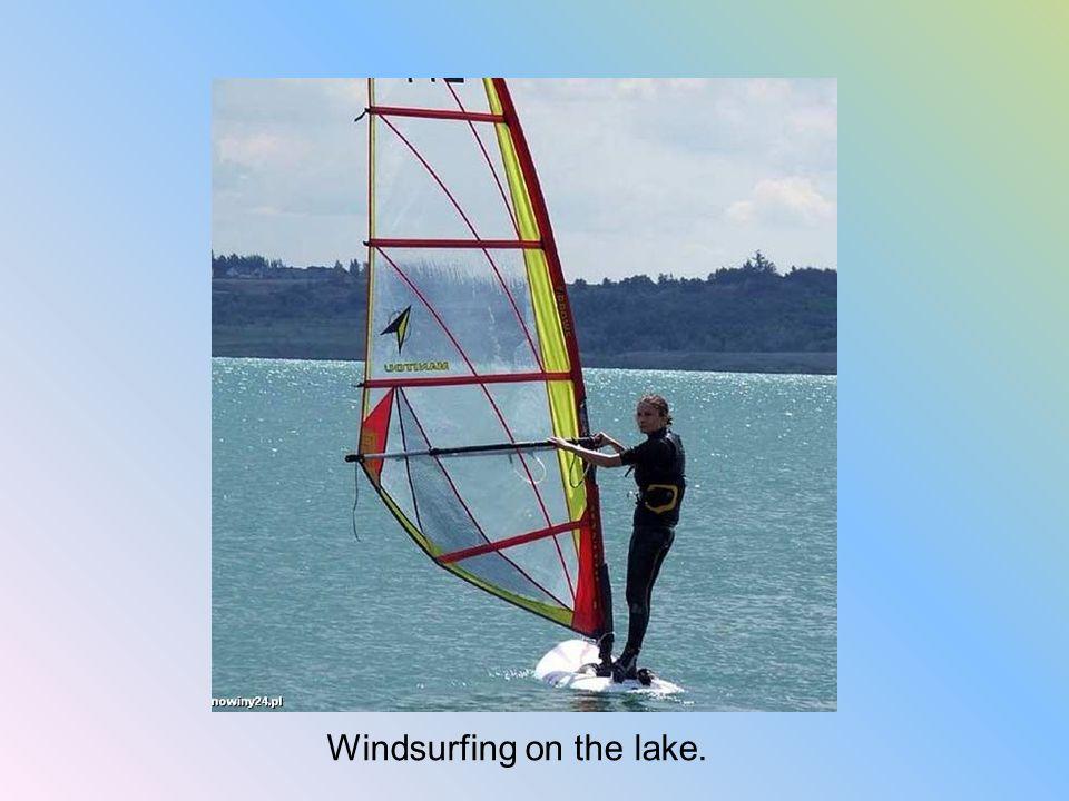 Windsurfing on the lake.