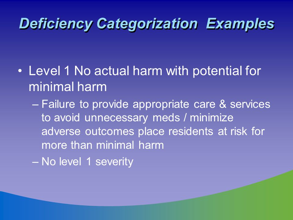 Deficiency Categorization Examples Level 1 No actual harm with potential for minimal harm –Failure to provide appropriate care & services to avoid unn