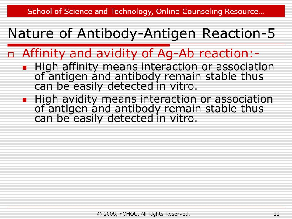 School of Science and Technology, Online Counseling Resource… © 2008, YCMOU. All Rights Reserved.11 Nature of Antibody-Antigen Reaction-5  Affinity a