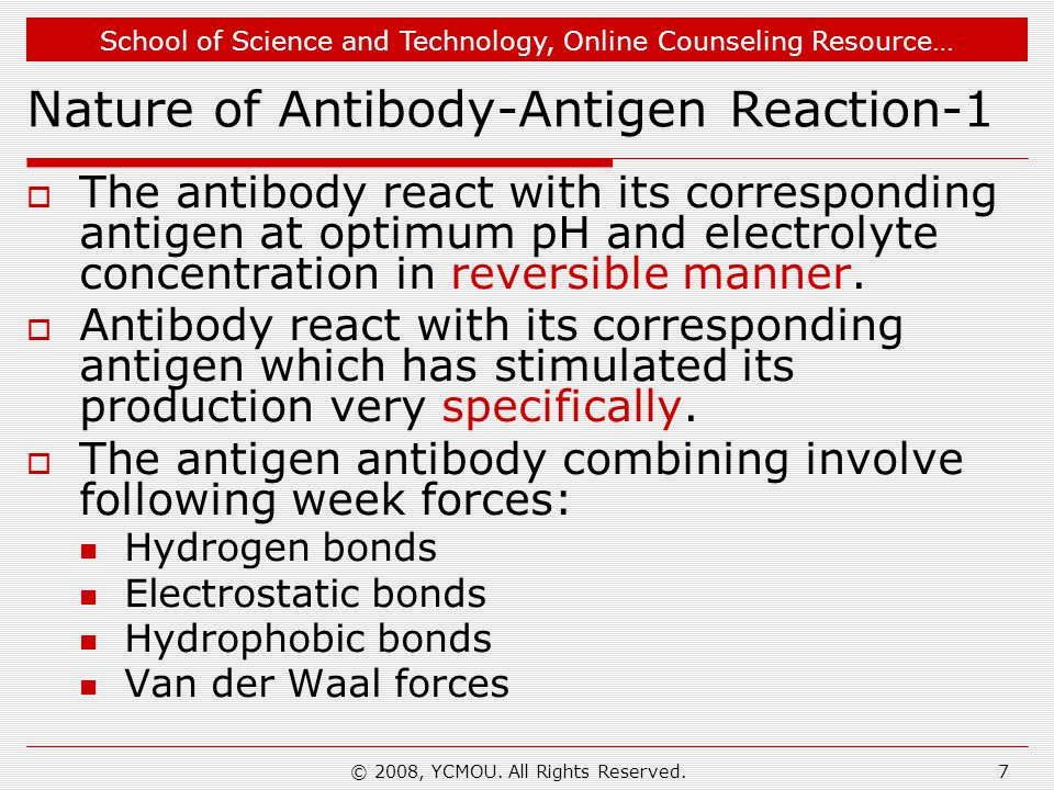 School of Science and Technology, Online Counseling Resource… © 2008, YCMOU. All Rights Reserved.7 Nature of Antibody-Antigen Reaction-1  The antibod