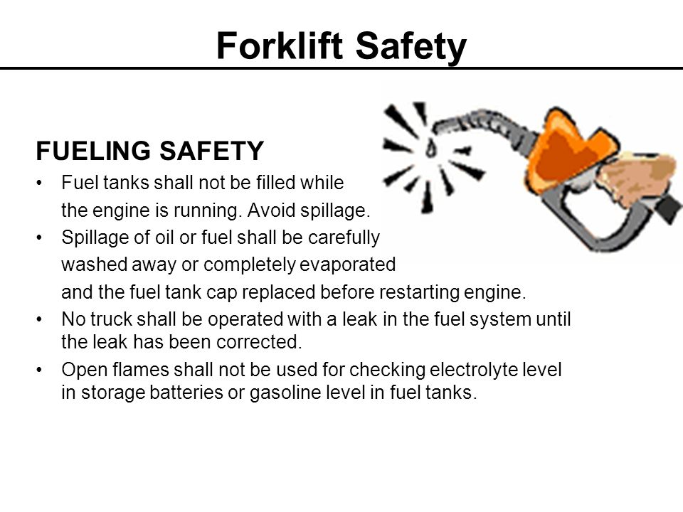 Forklift Safety LOADING DOCKS Keep the forklift clear of the dock edge when backing up to the dock Only start loading or unloading when the supply truck has come to a complete stop, the engine has been turned off, the dock lock has been engaged and the wheels have been chocked Do not drive the forklift into the truck until the bridge or dock plate has been attached Do not drive the forklift into a truck bed or onto a trailer that has soft or loose decking or otherunstable flooring Drive straight across the bridge plates when entering or exiting the trailer Use dock lights or headlights when working in a dark trailer