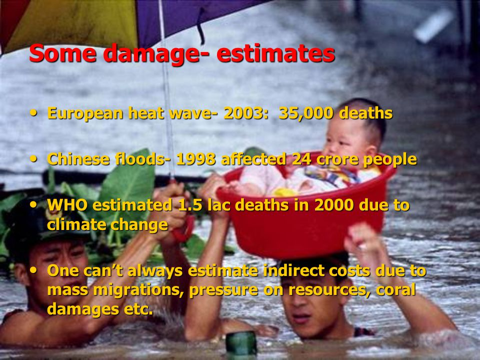 Some damage- estimates European heat wave- 2003: 35,000 deaths European heat wave- 2003: 35,000 deaths Chinese floods- 1998 affected 24 crore people Chinese floods- 1998 affected 24 crore people WHO estimated 1.5 lac deaths in 2000 due to climate change WHO estimated 1.5 lac deaths in 2000 due to climate change One can't always estimate indirect costs due to mass migrations, pressure on resources, coral damages etc.