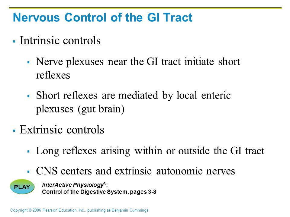 Copyright © 2006 Pearson Education, Inc., publishing as Benjamin Cummings Nervous Control of the GI Tract  Intrinsic controls  Nerve plexuses near t