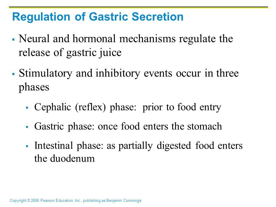Copyright © 2006 Pearson Education, Inc., publishing as Benjamin Cummings Regulation of Gastric Secretion  Neural and hormonal mechanisms regulate th