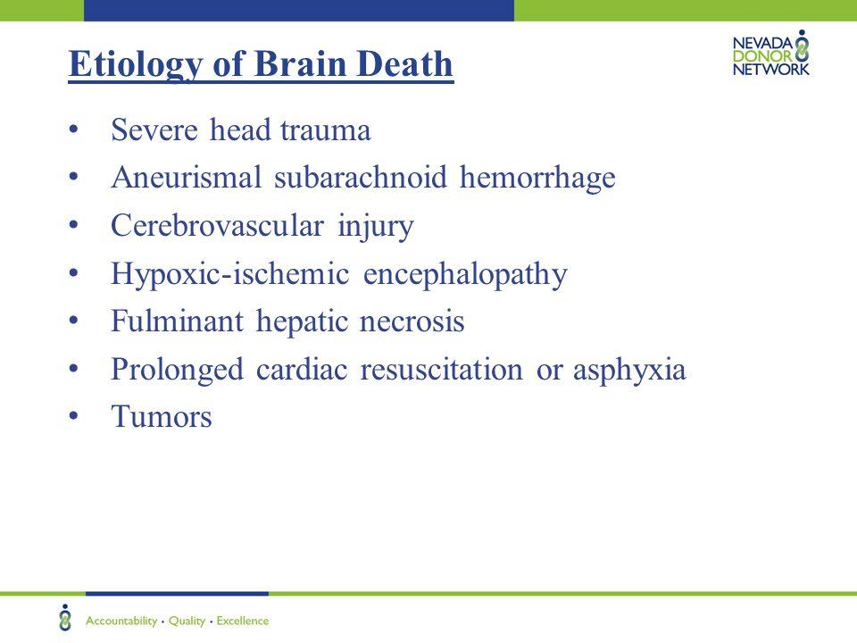 Etiology of Brain Death Severe head trauma Aneurismal subarachnoid hemorrhage Cerebrovascular injury Hypoxic-ischemic encephalopathy Fulminant hepatic necrosis Prolonged cardiac resuscitation or asphyxia Tumors