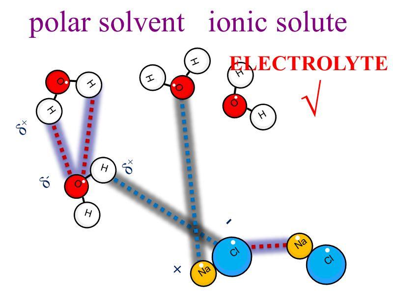 polar solvent ionic solute H O H H O H H O H H O H + - δ-δ- δ+δ+ δ+δ+ Na Cl Na Cl ELECTROLYTE √