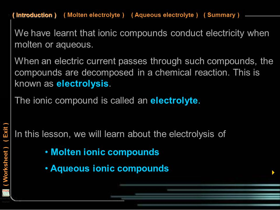 We have learnt that ionic compounds conduct electricity when molten or aqueous.