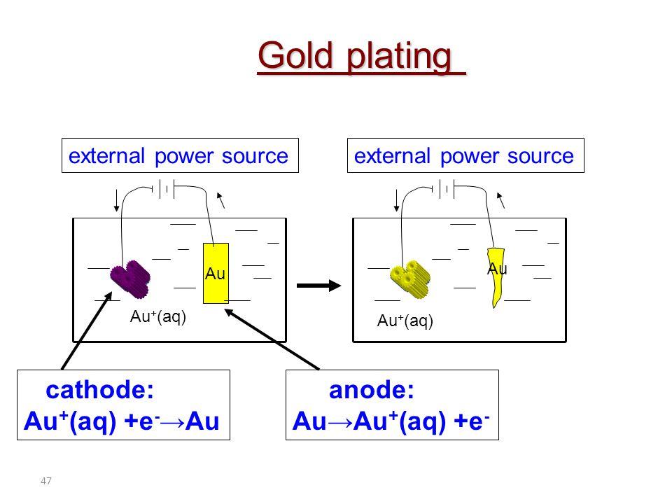 47 cathode: Au + (aq) +e - →Au anode: Au→Au + (aq) +e - external power source Au Au + (aq) Au external power source Gold plating