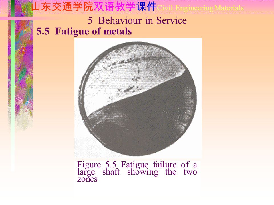 山东交通学院双语教学课件 Civil Engineering Materials 5.5 Fatigue of metals 5 Behaviour in Service Figure 5.5 Fatigue failure of a large shaft showing the two zones
