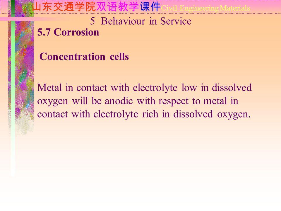 山东交通学院双语教学课件 Civil Engineering Materials 5.7 Corrosion Concentration cells 5 Behaviour in Service Metal in contact with electrolyte low in dissolved o