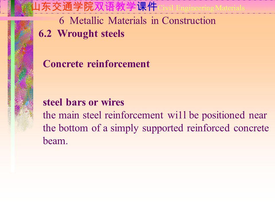 山东交通学院双语教学课件 Civil Engineering Materials 6.2 Wrought steels 6 Metallic Materials in Construction Concrete reinforcement steel bars or wires the main s