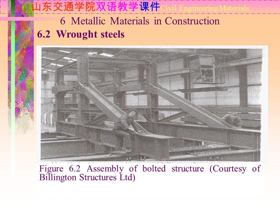 山东交通学院双语教学课件 Civil Engineering Materials 6.2 Wrought steels 6 Metallic Materials in Construction Bolt steels Figure 6.2 Assembly of bolted structure (