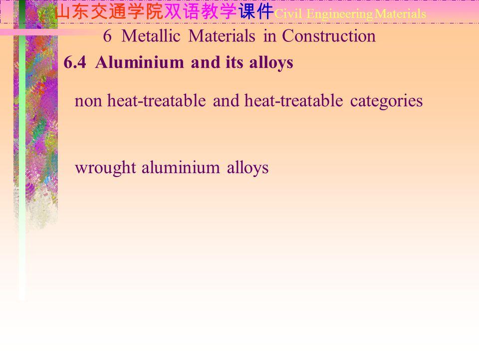山东交通学院双语教学课件 Civil Engineering Materials 6.4 Aluminium and its alloys 6 Metallic Materials in Construction non heat-treatable and heat-treatable categ