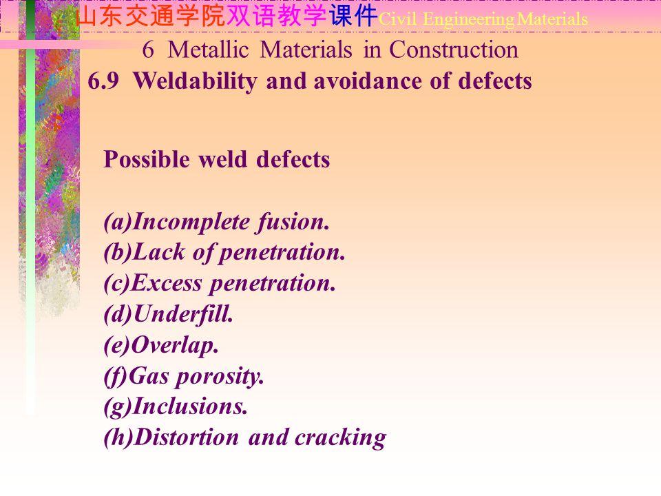 山东交通学院双语教学课件 Civil Engineering Materials 6.9 Weldability and avoidance of defects 6 Metallic Materials in Construction Possible weld defects (a)Incomp