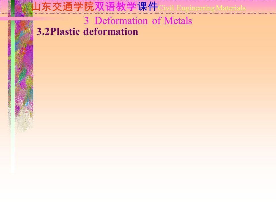 山东交通学院双语教学课件 Civil Engineering Materials 3.2Plastic deformation 3 Deformation of Metals