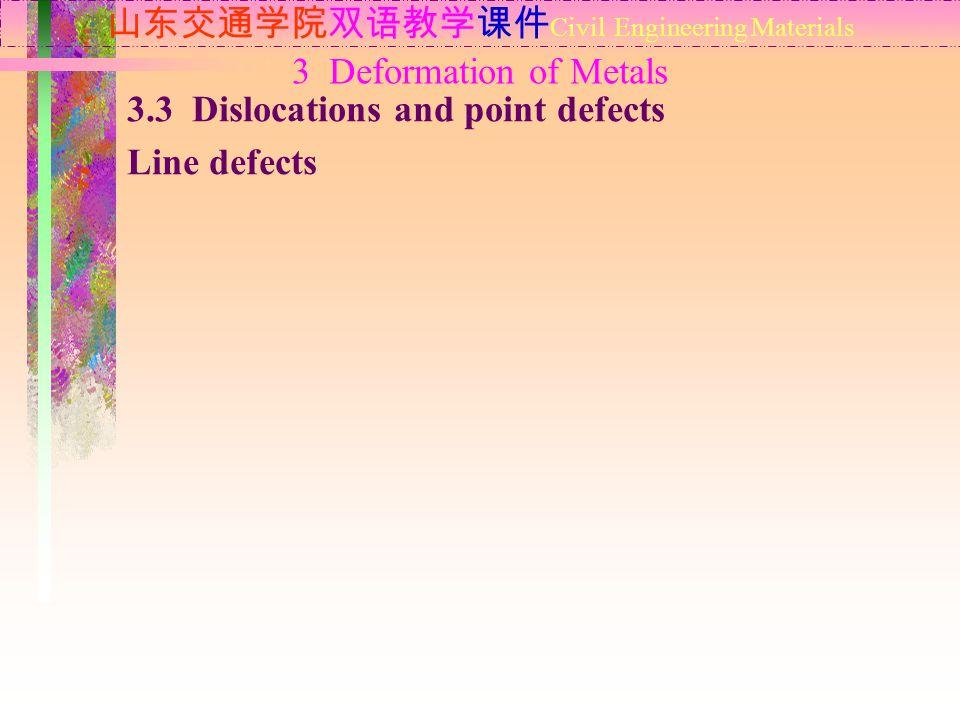 山东交通学院双语教学课件 Civil Engineering Materials 3.3 Dislocations and point defects Line defects 3 Deformation of Metals