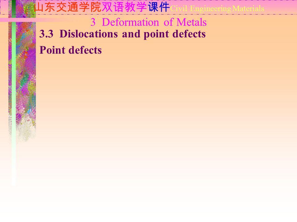 山东交通学院双语教学课件 Civil Engineering Materials 3.3 Dislocations and point defects Point defects 3 Deformation of Metals