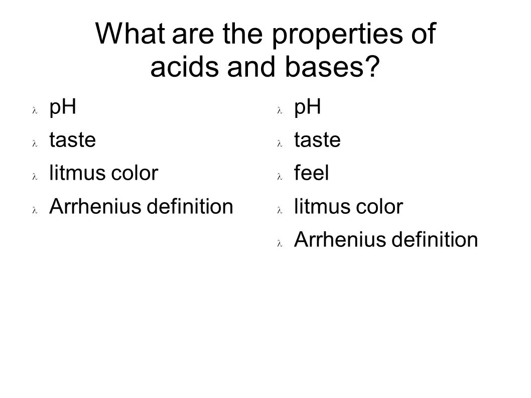 What are the properties of acids and bases.