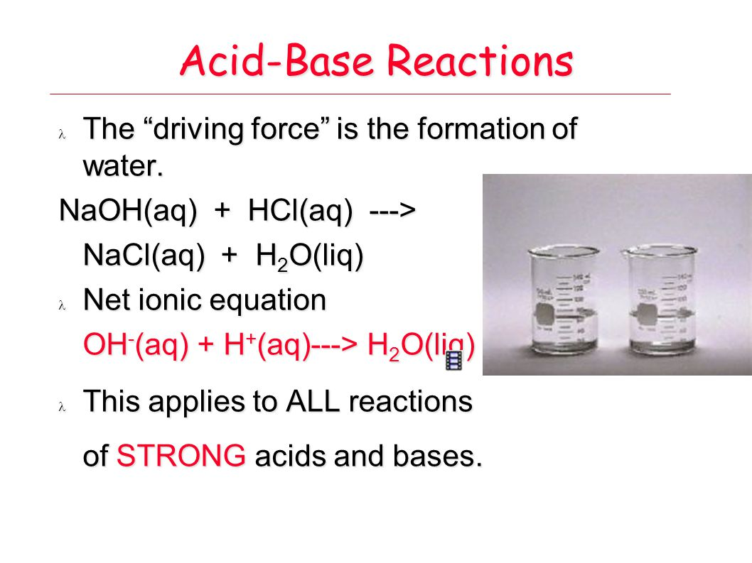 Acid-Base Reactions The driving force is the formation of water.