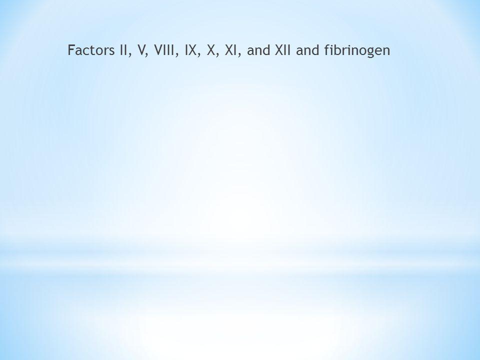Factors II, V, VIII, IX, X, XI, and XII and fibrinogen
