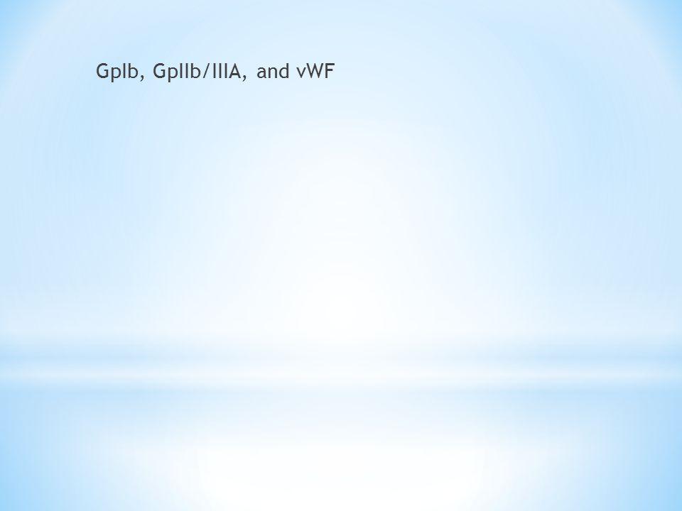 GpIb, GpIIb/IIIA, and vWF