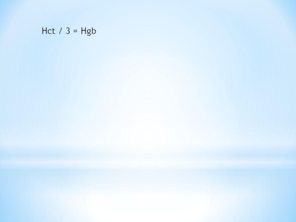 Hct / 3 = Hgb