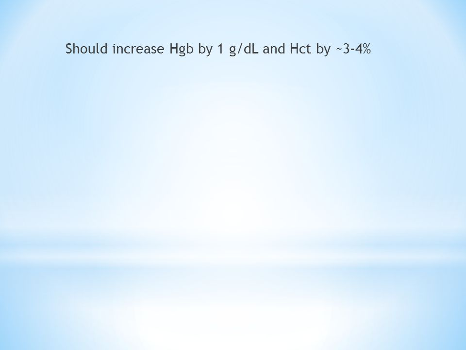 Should increase Hgb by 1 g/dL and Hct by ~3-4%