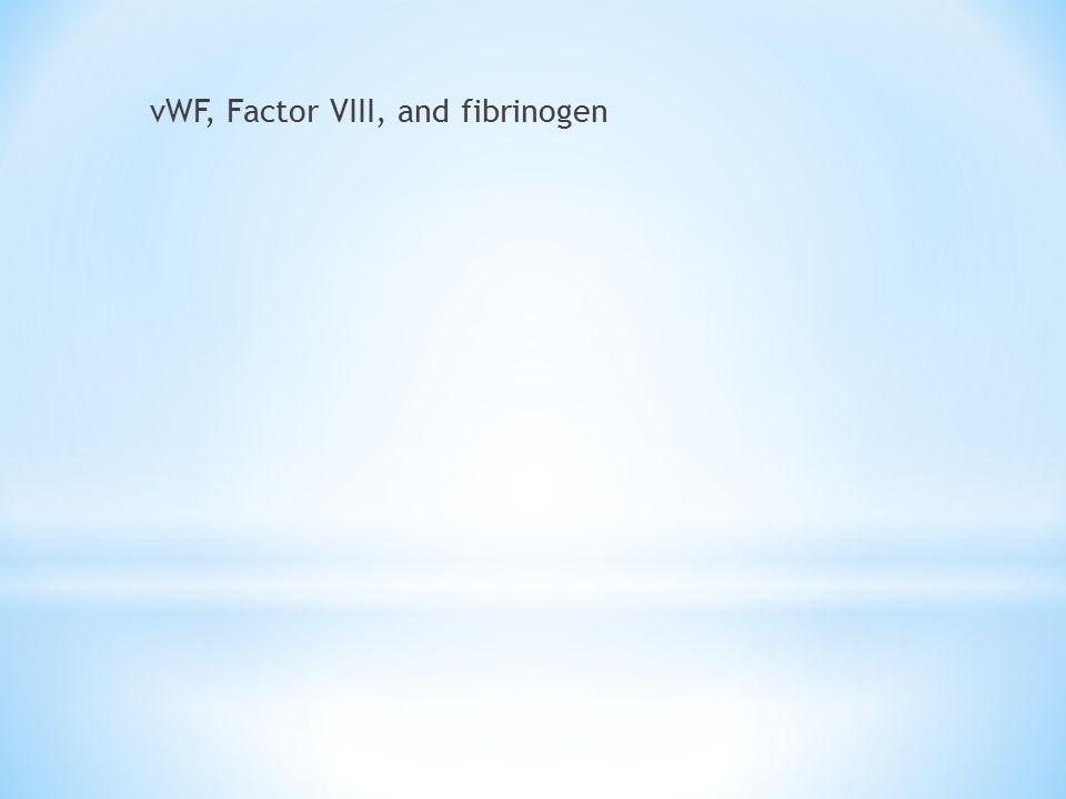 vWF, Factor VIII, and fibrinogen
