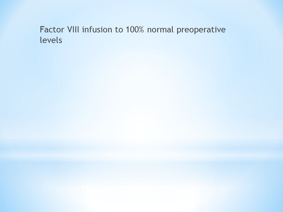 Factor VIII infusion to 100% normal preoperative levels