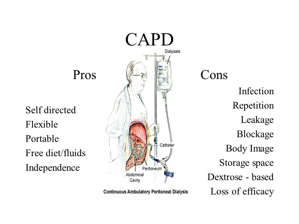 CAPD Pros Self directed Flexible Portable Free diet/fluids Independence Cons Infection Repetition Leakage Blockage Body Image Storage space Dextrose - based Loss of efficacy